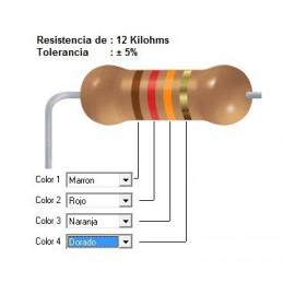 RESISTENCIA CARBON  10.00 KOHMS    0.25 WATT