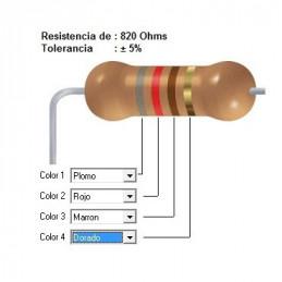 RESISTENCIA CARBON    750.00 OHMS  0.50 WATT