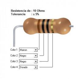 RESISTENCIA CARBON      5.10 OHMS  0.25 WATT