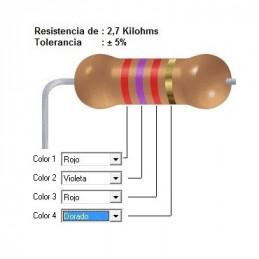RESISTENCIA CARBON   1.00 KOHMS    0.25 WATT