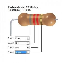 RESISTENCIA CARBON   6.20 KOHMS    0.50 WATT